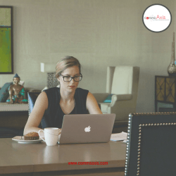 Managing Remote Employees post image 4 Businesswoman on laptop working with coffee and cake on desk_Understanding how to manage remote employees can make all the difference to your business so check out these 10 essential tips for managing remote employees