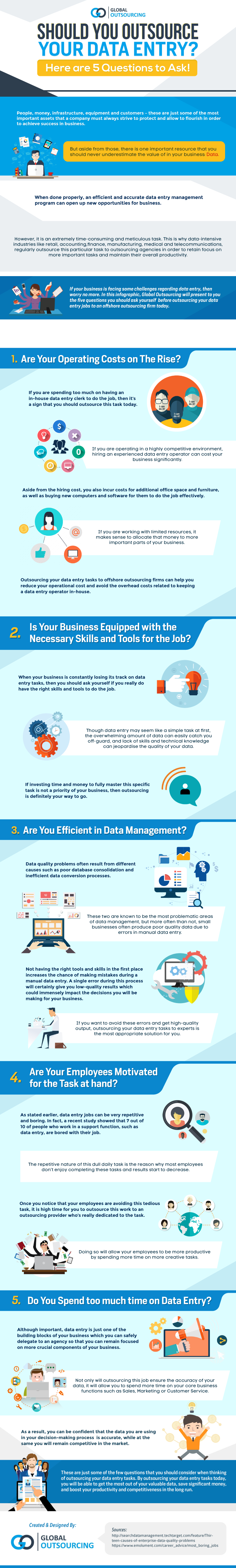 Data entry is one of the most tedious, time-consuming tasks, and is what many companies choose to delegate. But ask these 5 questions first! (Infographic)