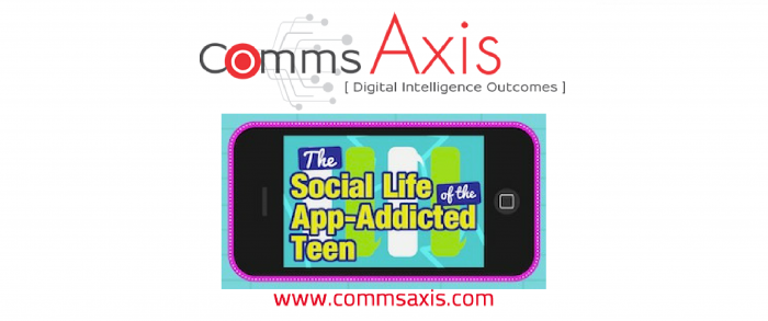 Social Teens are Addicted to Apps Infographic by TeenSafe_Comms Axis post feature image_Check out this great infographic by TeenSafe to uncover details and insight into today's social life of our app-addicted social teens - it's worrying!!