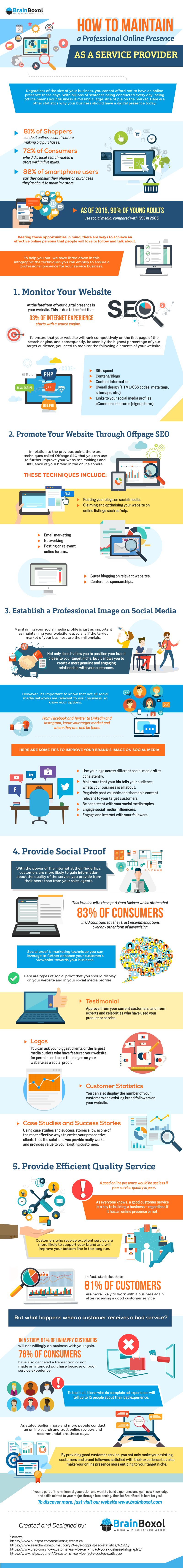 How to Maintain a Professional Online Presence as a Service Provider infographic_Having a strong and professional online presence is a crucial part of your marketing strategy. Check out BrainBoxol's infographic for how to maintain yours!