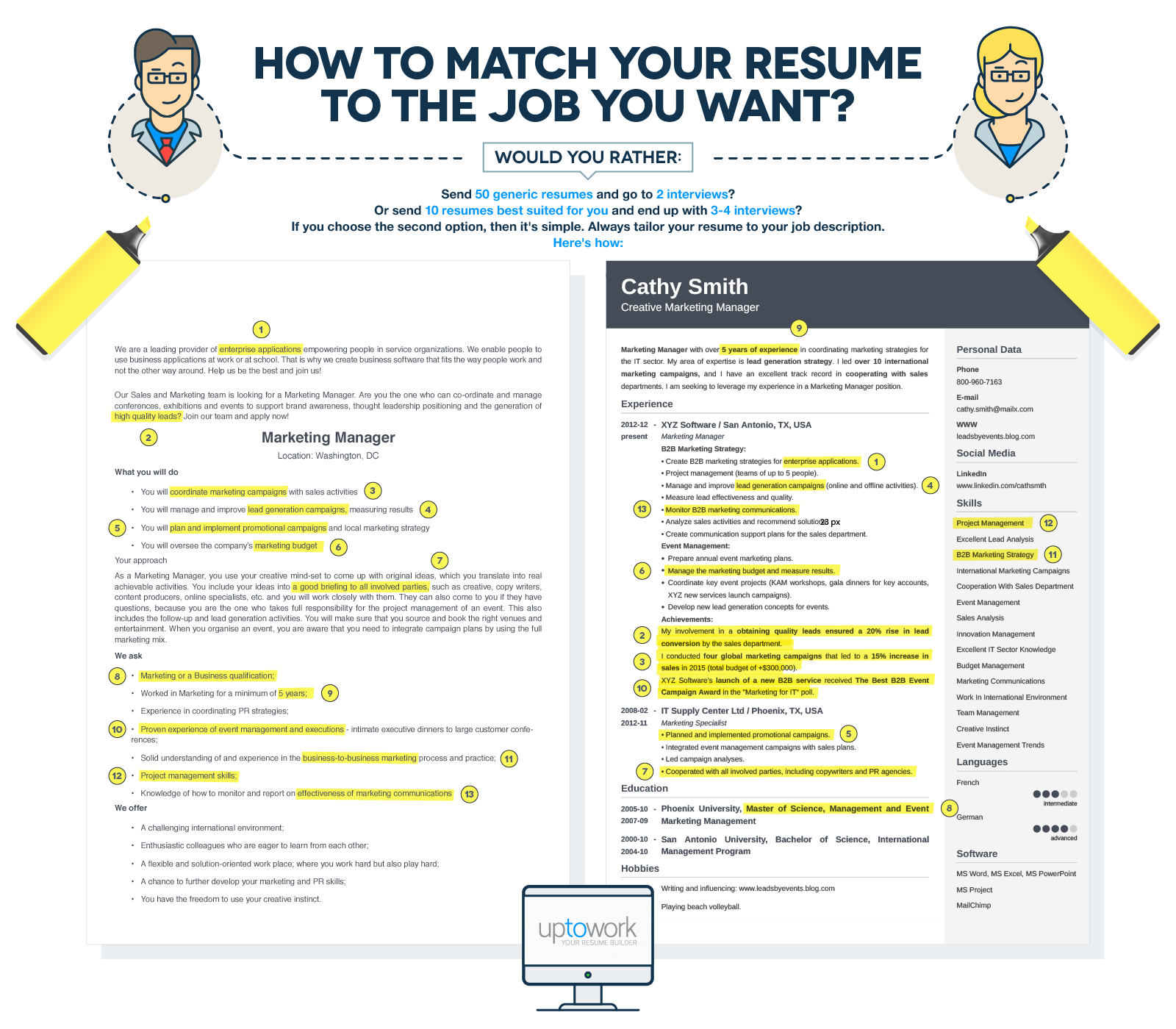 tailor your resume to land that job infographic comms axis