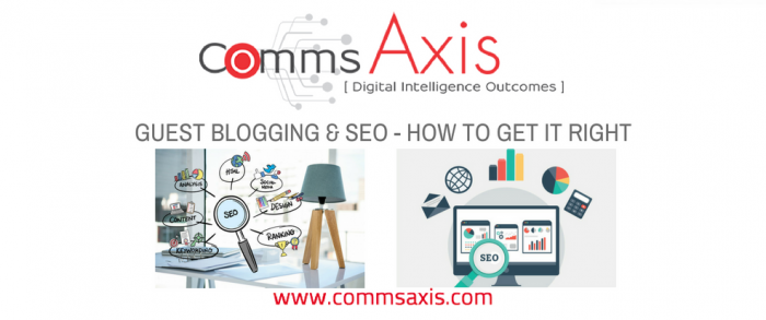 Guest blogging and SEO feature image for Comms Axis guest post by Nate Vickery